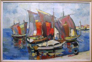 Slika: Ferdo Majer - Barke, 1964 godina, ulje na platnu, dimenzije 60 x 90