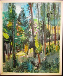 Slika: Milun Mitrović - Šuma na Ozrenu, 2001 godina, ulje na platnu, dimenzije 55 x 46