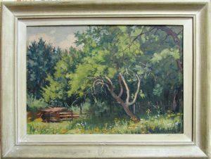 SLIKA: MILOŠ GOLUBOVIĆ - ŠUMA, 1952 godina, ulje na šperu, dimenzije 55 x 39