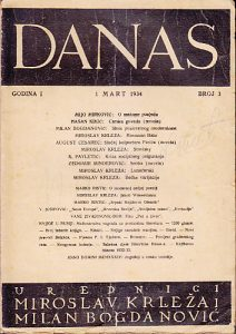 DANAS, književni časopis, broj 3 za 1934 godinu - urednici MIROSLAV KRLEŽA, MILAN BOGDANOVIĆ
