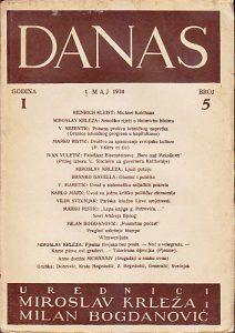 DANAS, književni časopis, broj 5 za 1934 godinu - urednici MIROSLAV KRLEŽA, MILAN BOGDANOVIĆ